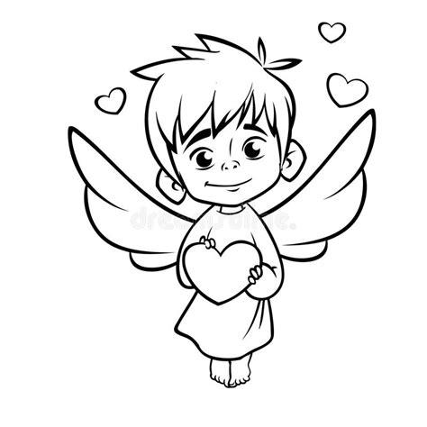 Ilustração Do Cupido Esboçado Do Bebê Que Abraça Um