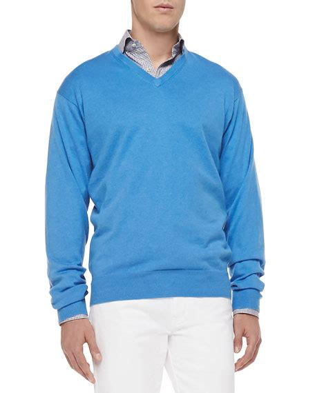 light blue cashmere sweater peter millar cotton cashmere v neck sweater light blue