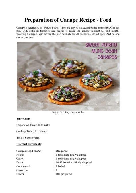 preparation  canape recipe