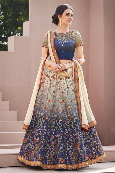 Satin Silk Lehenga Choli In Grey And Blue Colour | Lehenga ...