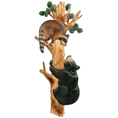 Bear & Raccoon Wood Wall Hanging