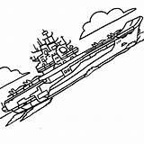 Coloring Carrier Aircraft Kuznetsov Class Coloringsky sketch template