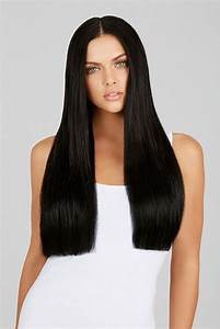 Jet Black 20 Inch Clip In Hair Extensions   Leyla Milani Hair