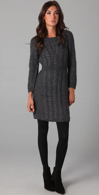 gray sweater dress tibi cable knit sweater dress in gray lyst