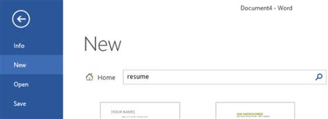 word 2016 how to build a resume using templates