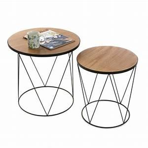 Table Basse Metal Ronde : table basse d 39 appoint en bois et metal ronde 2 tables basse achat vente table basse table ~ Teatrodelosmanantiales.com Idées de Décoration