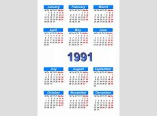Calendar 1991 to print and download in PDF abccalendar