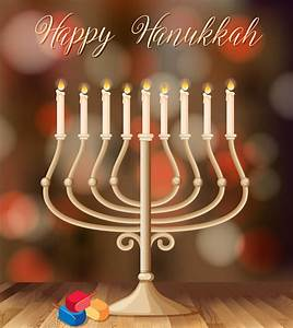 Happy, Hanukkah, Card, Template, With, Candleholder, With, Lights