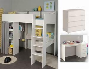 Lit Avec Bureau : lit mezzanine avec bureau et commode taylor 16 blanc grey loft sb meubles discount ~ Teatrodelosmanantiales.com Idées de Décoration