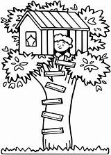 Tree Coloring Pages Treehouse Getcoloringpages Beach sketch template