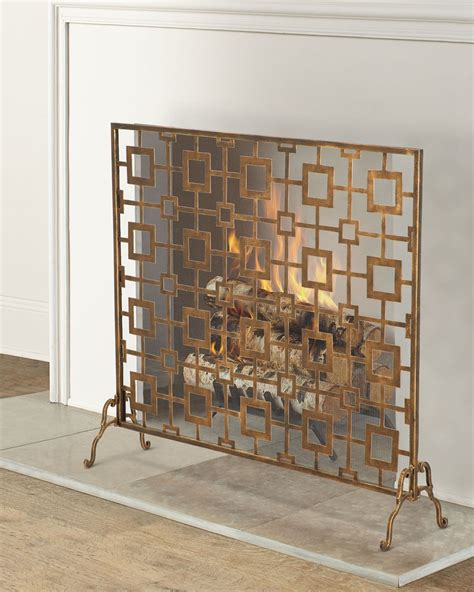 tole geometric single panel fireplace screen neiman marcus