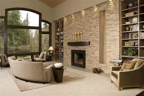 Wohnzimmer Wand Steine by Contemporary Living Room With Stacked Accent Wall