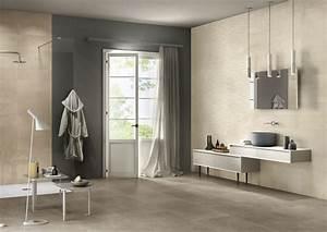 carrelage de salle de bain ton pierre et motif vague With carrelage pierre salle de bain