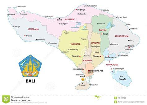 bali administrative  political vector map  seal
