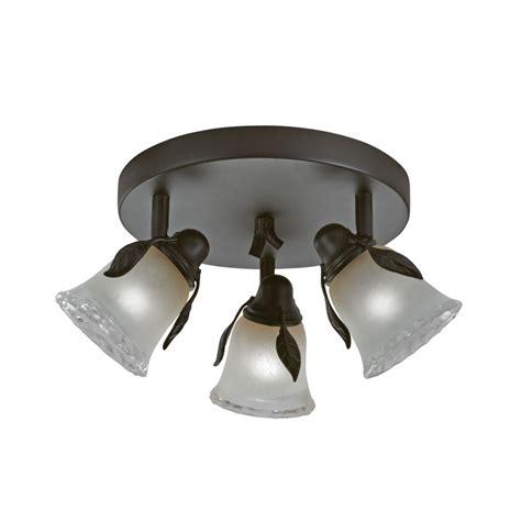 flush mount track lighting shop portfolio branches 3 light painted olde bronze flush