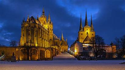 Germany Erfurt Cathedral Lights Catholic Evening Church