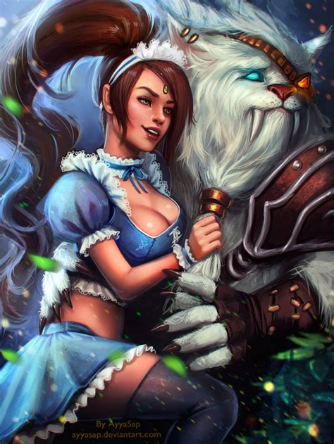 nidalee  rengar fan art league  legends fan art art