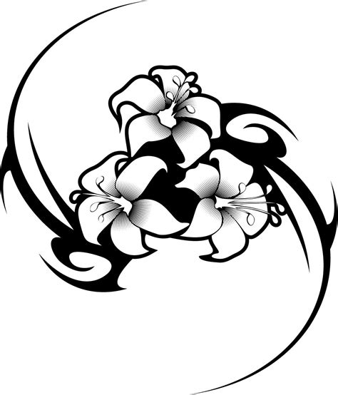 working sheet   hibiscus flower tattoo tribal design coloring clipart  clipart