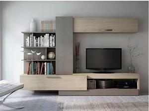 Meuble Tv Au Mur : mur tv spike avec rangements ch ne taupe ~ Teatrodelosmanantiales.com Idées de Décoration