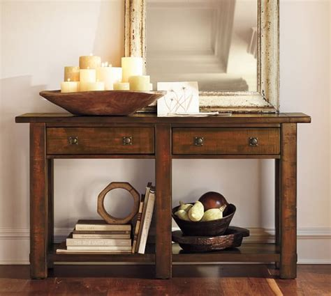 small white entry table benchwright console table pottery barn