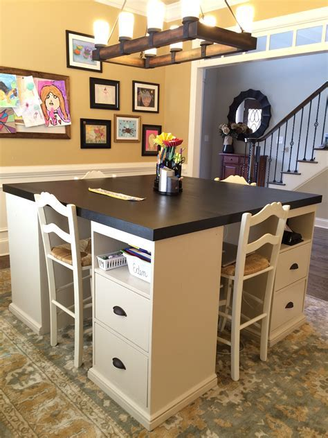 Ana White   Four station desk (PB inspired)   DIY Projects