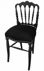 Chaise Velours Noir : fauteuil baroque de style louis xv velours noir et bois noir ~ Teatrodelosmanantiales.com Idées de Décoration