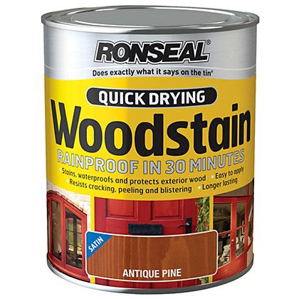 ronseal quick drying woodstain satin antique pine ml