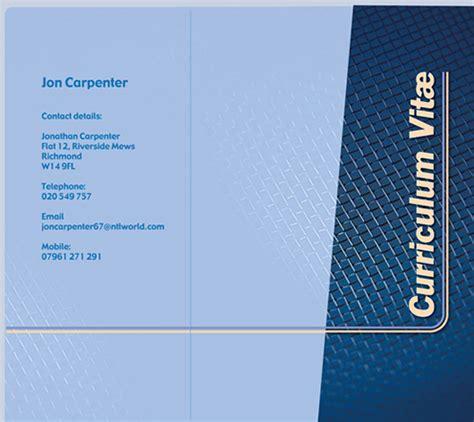 Curriculum Vitae Presentation Folder by Curriculum Vitae Front Page The Best Free Premium Cv