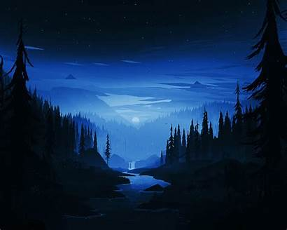 Dark Night Forest Memory 8k Minimal River