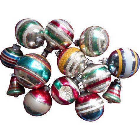 vintage striped glass christmas tree ornaments 13 shiny