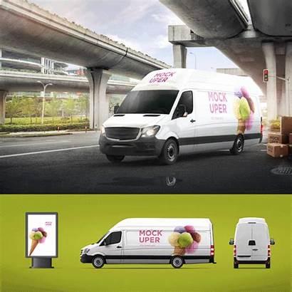Mock Van Vehicle Psd Branding Behance Company