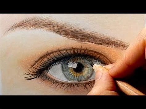 timelapse drawing  realistic eye  colored pencils