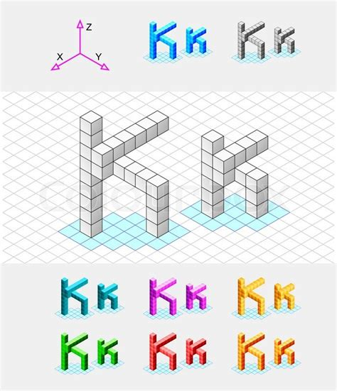 Isometric Font From The Cubesletter K Vector Stock