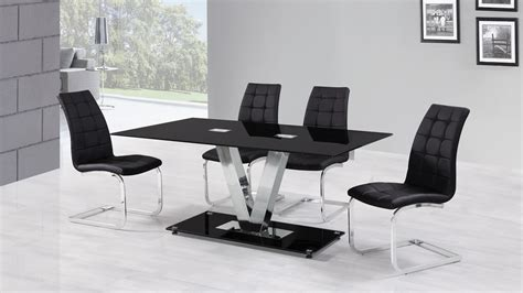 glass table six chairs 6 seater black glass dining table and chairs homegenies