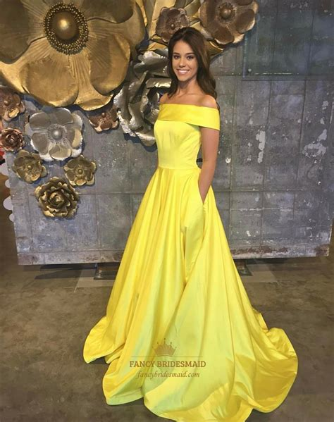 what color prom dress should i get yellow the shoulder sleeveless satin prom dress with
