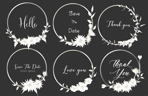 Set of dividers round frames Hand drawn flowers
