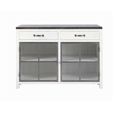 meuble de cuisine 120 cm meuble bas vitré de cuisine en bois recyclé et blanc l 120 cm ostende maisons du monde