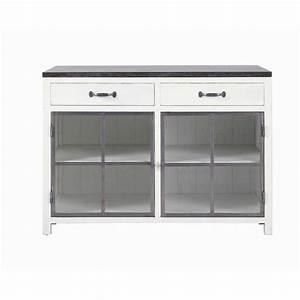 Meuble Bas Cuisine 120 Cm : meuble bas vitr de cuisine en bois recycl et pierre ~ Dode.kayakingforconservation.com Idées de Décoration
