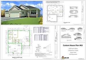 custom plans house and cabin plans plan 63 1541 sq ft custom home design dwg and pdf