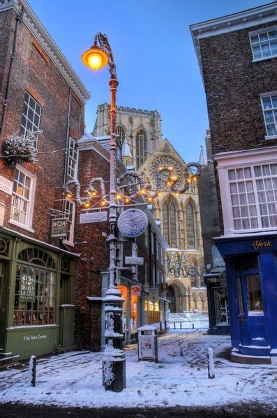 york minster at christmas peppergate street york england