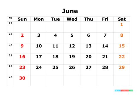 printable calendar template june     image