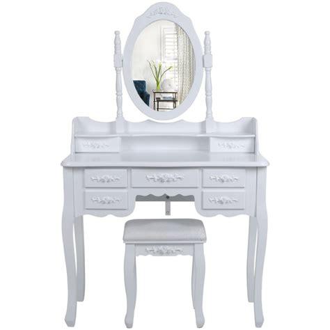 helloshop26 coiffeuses coiffeuse bois avec grand miroir et 7 tiroir
