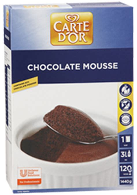carte d or dessert carte d or chocolate mousse dessert mix 1440 g unilever food solutions