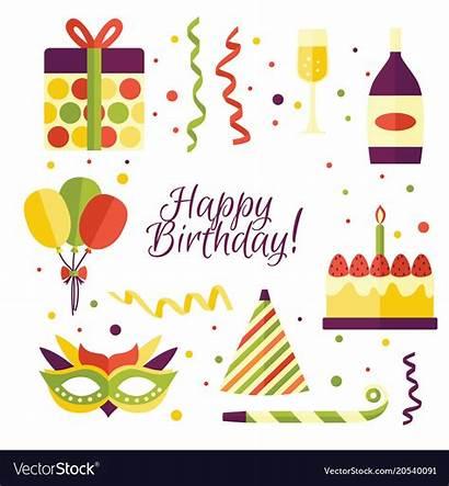 Cartoon Birthday Party Items Decorations Vector
