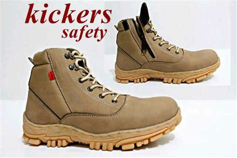 jual beli sepatu safety kickers boot ujung besi resleting