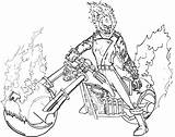 Rider Ghost Coloring Pages Marvel Cool Ghostrider Cartoon sketch template