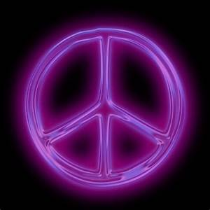 glowing purple neon icon symbols shapes peace sign