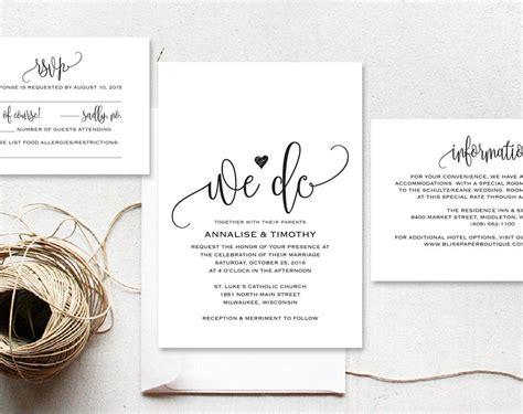 wedding invitation template rustic kraft invitation