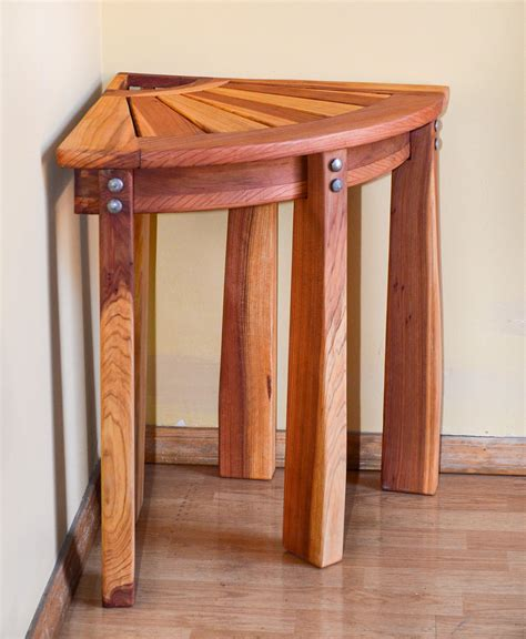 redwood corner shower bench custom wooden bench