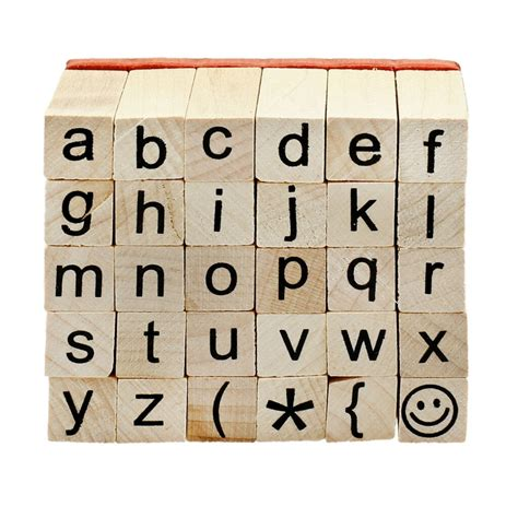 recollections wood stamp set small  case alphabet